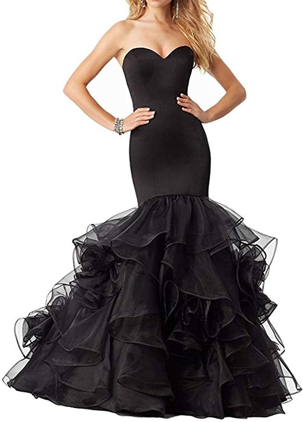 Black Women's Sweetheart Mermaid Prom Dresses Long Strapless Ruffle Organza Formal Evening Ball Gowns 2019