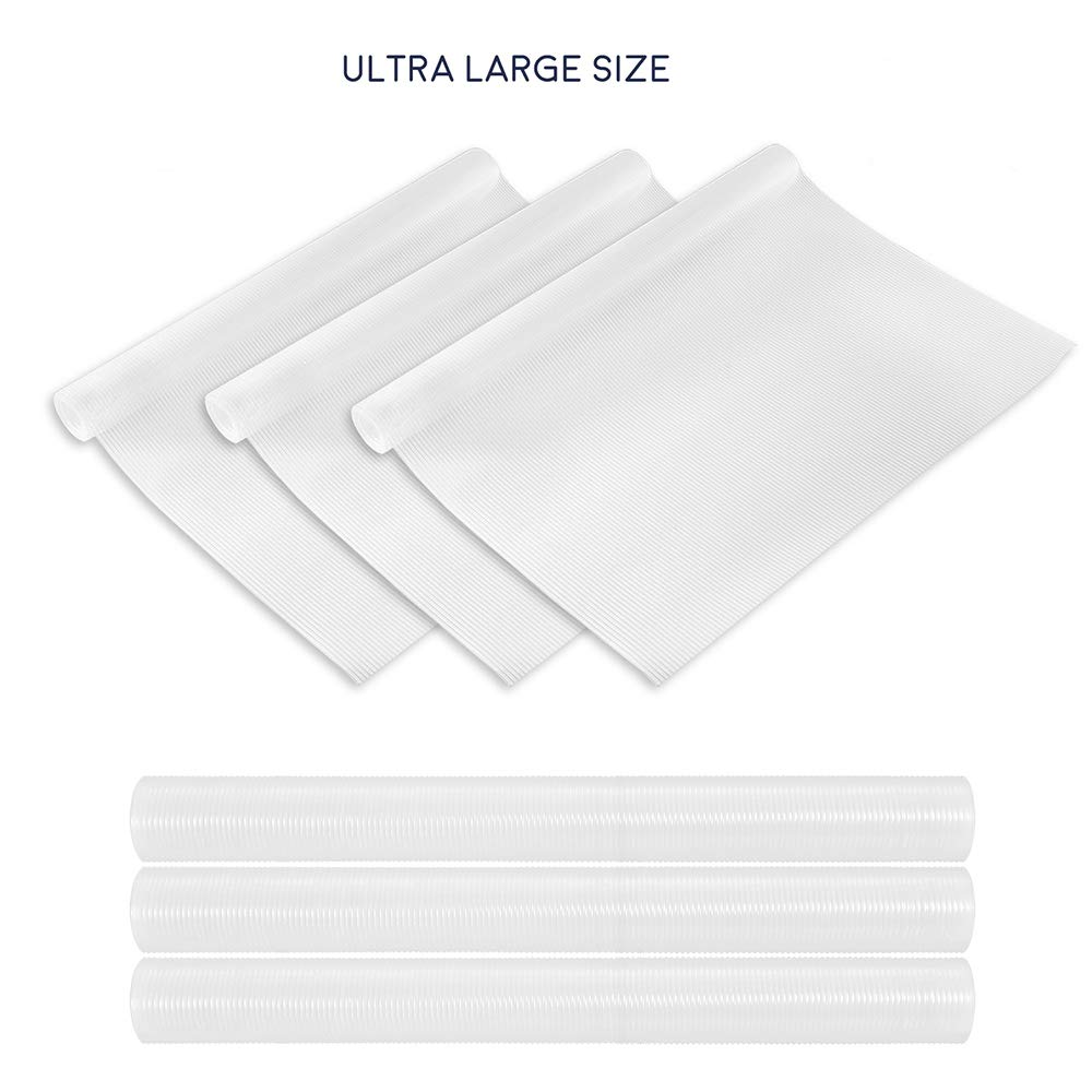"""Yachee 3 Rolls EVA Cabinet Liners, Extra Large Non-Slip Non-Adhesive Shelf Liners for Kitchen Cabinets Cupboard Drawer Cushion Shelves, Washable Multipurpose Refrigerator Liner, 24""""x 60"""" - Transparent"""