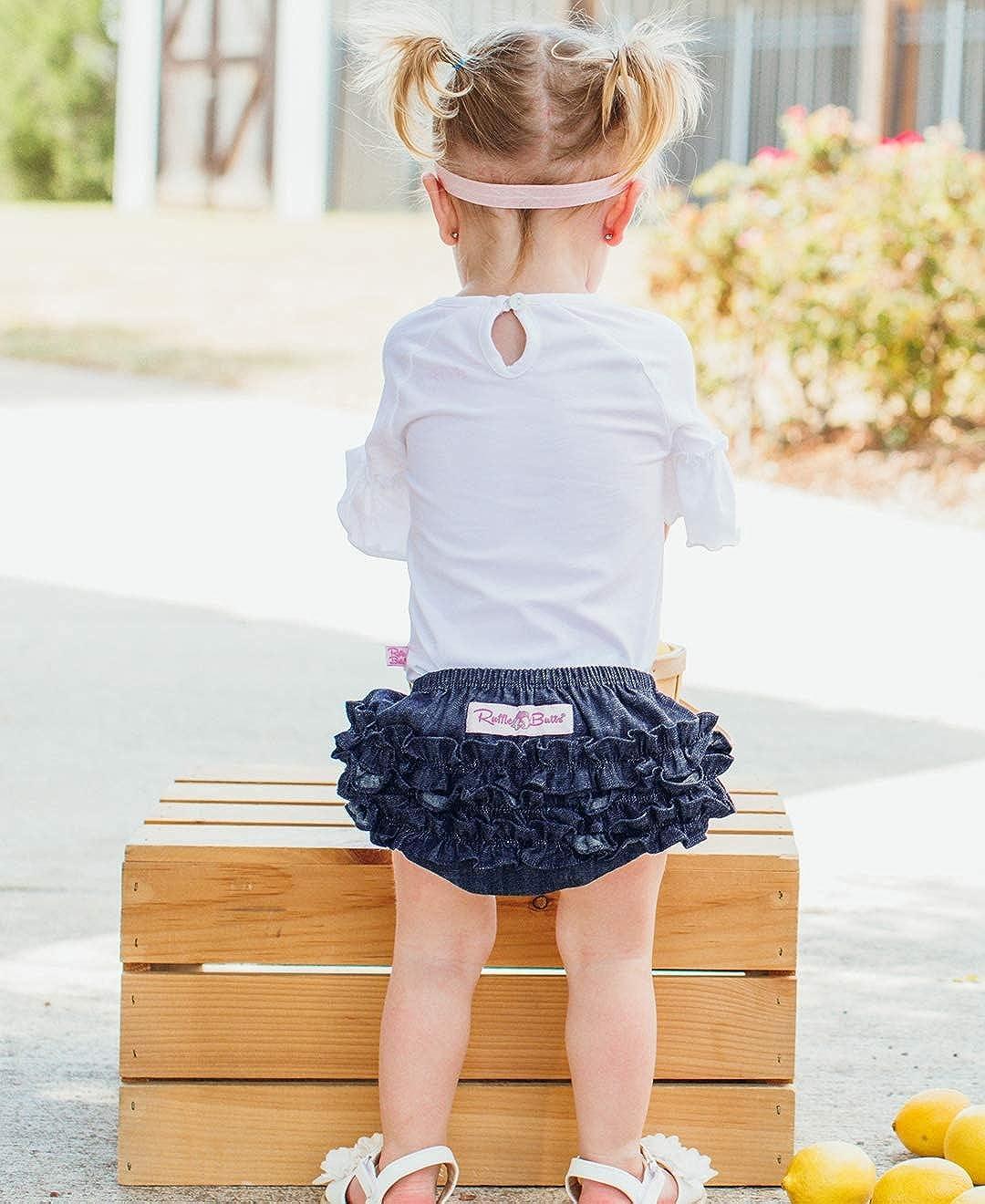 RuffleButts Baby//Toddler Girls Denim Ruffled Diaper Cover Bloomer