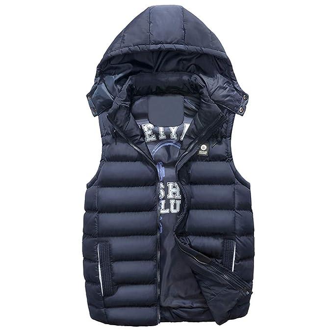 MEIbax Abrigo de Invierno Hombres con Capucha Chaleco de Algodón del Color Puro del Bolsillo Acolchado