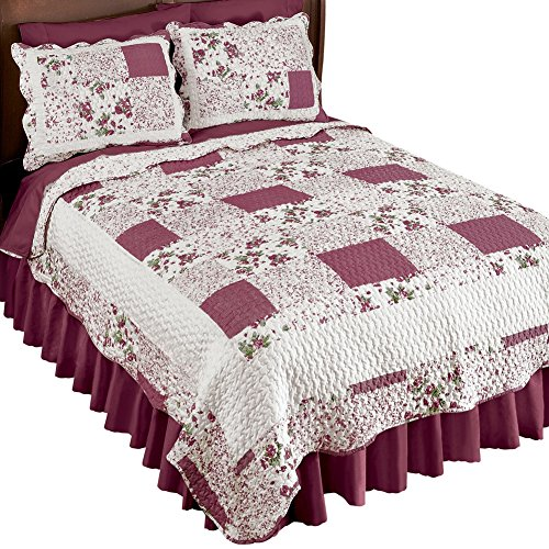 Patch Garden Quilt - Collections Etc Hadley Floral Patchwork Reversible Lightweight Quilt, Burgundy, Full/Queen