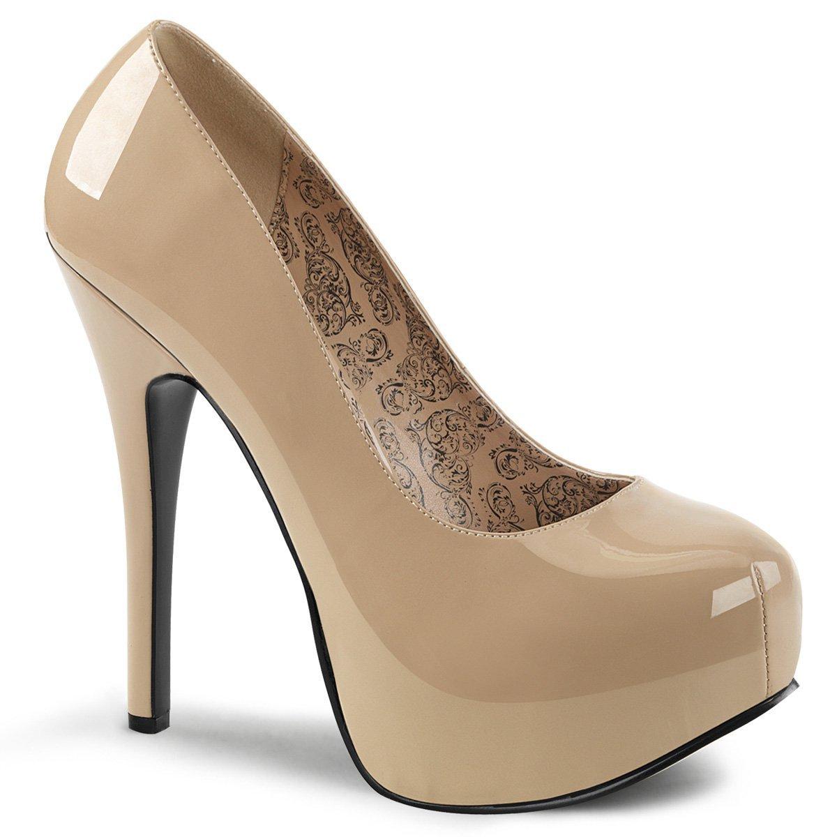 Bordello Pleaser Pink Label TEEZE-06W Women 5 3/4 Heel, 1 3/4 Platform Pump W/Concealed Platform B075R7QBZT 16 B(M) US|Cream Pat