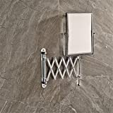 HomJo Bathroom Extended Folding Arm Square Wall Mounted Makeup Mirror 2-Face Magnifying Mirror Bathroom accessories