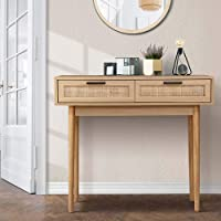 Artiss Console Table Timber Hallway Side Table with Rattan Storage Drawers - Wood