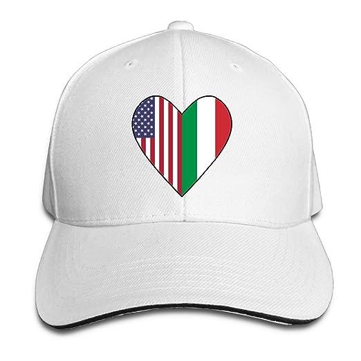 Women s Men s Half Italian Flag Half USA Flag Love Heart Adult Adjustable Snapback  Hats Trucker fb7947da32