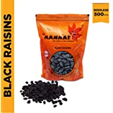 Mannat Afghan Black Raisins (Seedless), 500g Pouch, 500 g with Saver Pack