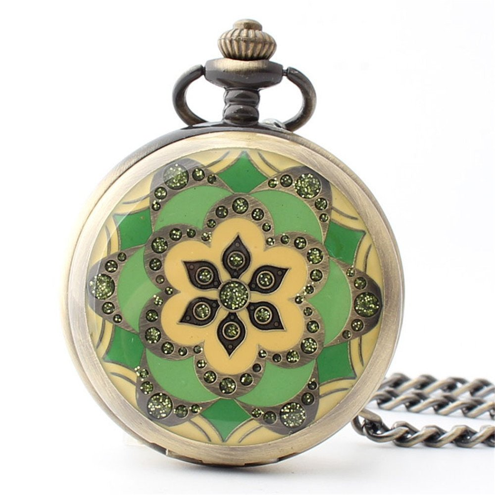 Zxcvlina Classic Smooth Creative Flower Carved Retro Pocket Watch Green Watchcase Bronze Mechanical Pocket Watch with Chain Women's Gift Suitable for Gift Giving by Zxcvlina (Image #1)