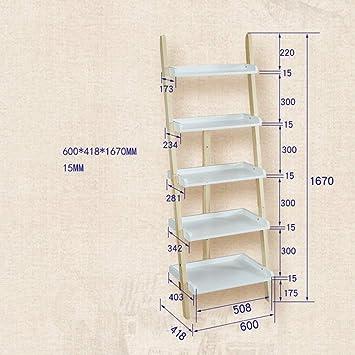 Jazi Hogar/Decoración de muebles Estantería Estantería Estantería de escalera inclinada de 5 estantes, estantería de estantería de almacenamiento de pared de 5 niveles de estantería,Color blanco +: Amazon.es: Bricolaje y herramientas