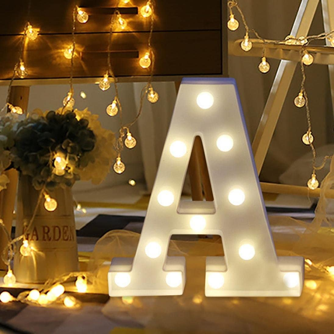 Amazon Com Vacally Led Light Alphabet Letter Lights Led Light Up White Plastic Letters Standing Hanging A Z Wedding Birthday Decorate A Pet Supplies