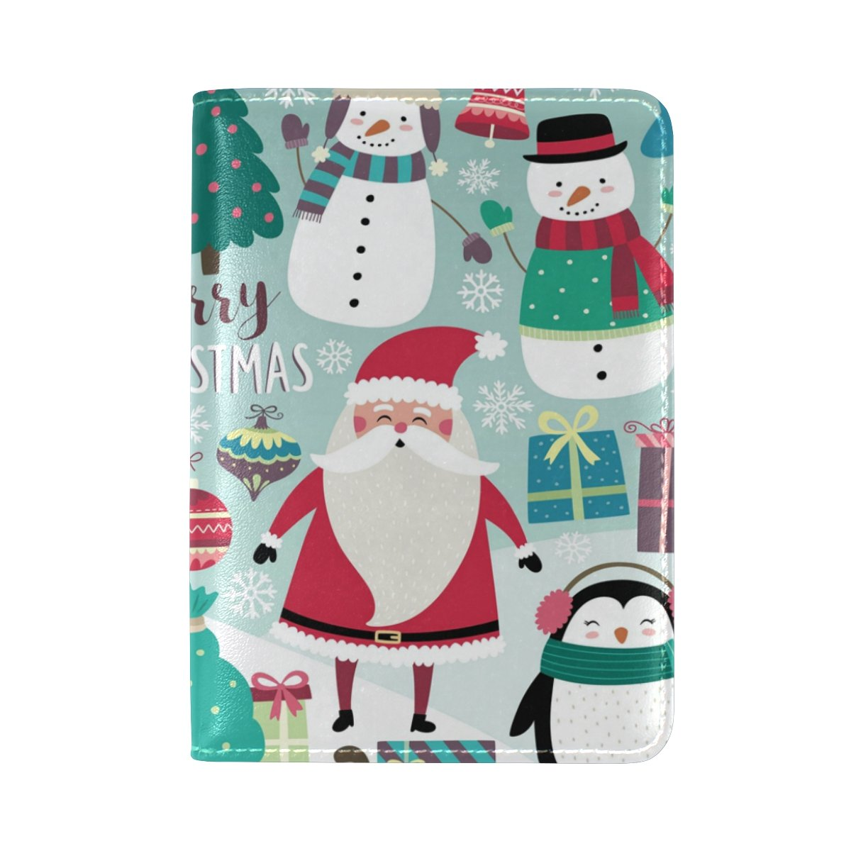 ALAZA Cute Christmas Penguin Snowman Leather Passport Holder Cover Case Travel One Pocket