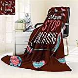 YOYI-HOME Lightweight Duplex Printed Blanket Quotes Modern Never Stop Dreaming Quote Frame Print Surrounded by Leaves Success Brown Teal Digital Printing Blanket /W39.5 x H59