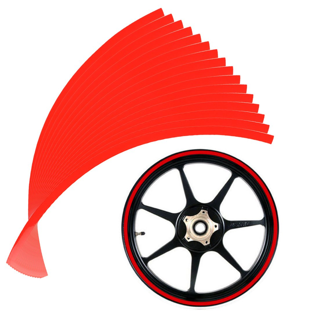 Larcele 10mm Decalcomanie catarifrangenti del adesivi per cerchioni per Ruote del moto 16'o le Ruote dell'auto QCFGT-01 (Scarlatto)