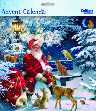 Square Advent Calendar (WDM0000) - Father Christmas on Bench - Glitter Varnished Woodmansterne