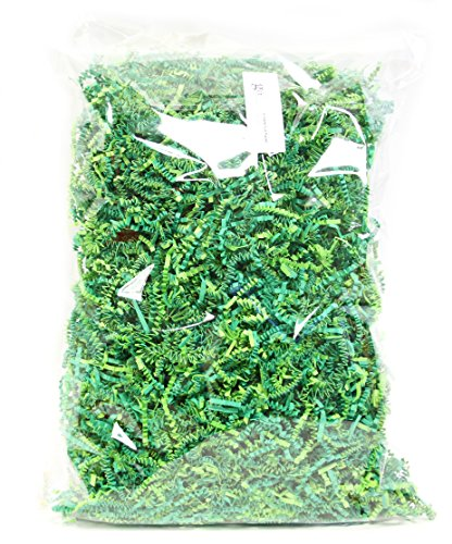 10 OZ Green Crinkle Paper Shred Filler for Gift Wrapping, 100% Recyclable Easter Egg Green Crinkle Paper Shred Filler for Gift Wrapping & Basket Filling, 100% Recyclable (10oz Green)