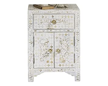 Handmade Bone Inlay Furniture   Side Table Floral Pattern Cabinet (White)