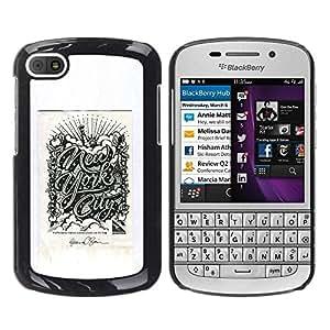 PC/Aluminum Funda Carcasa protectora para BlackBerry Q10 Chrysler New York City Poster Grey / JUSTGO PHONE PROTECTOR