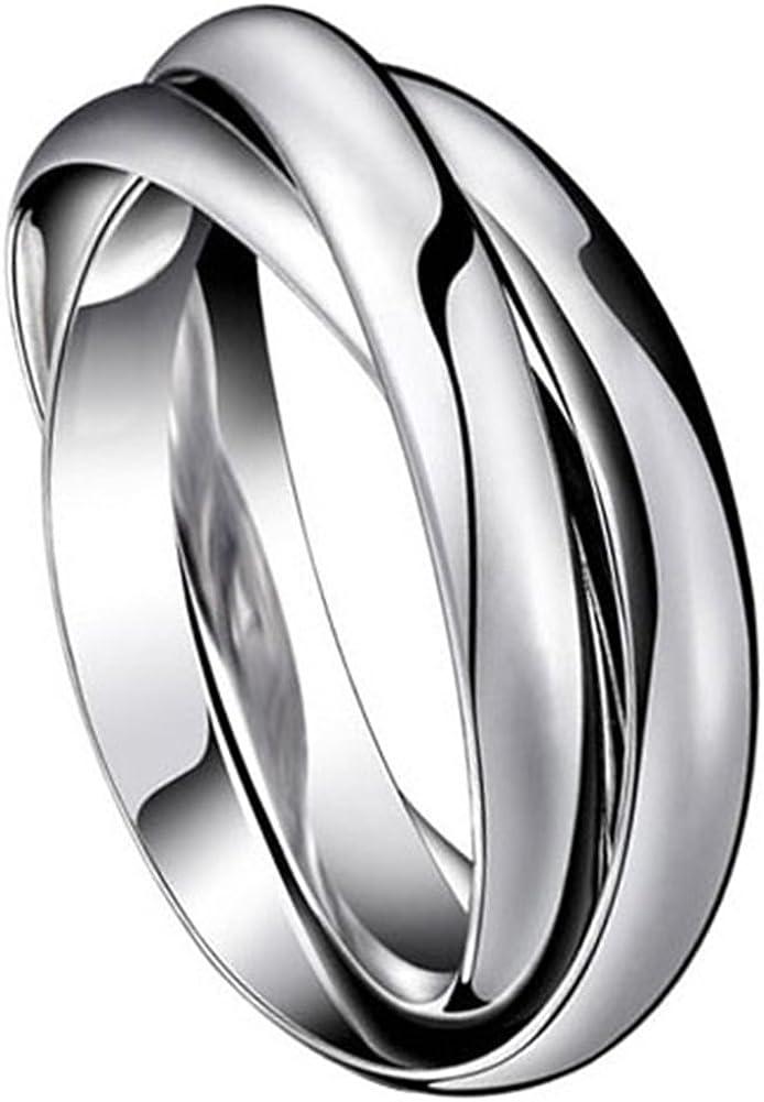 Anillo de acero inoxidable plateado con cadena O, para hombres, mujeres, hombres, alianzas, Navidad, boda, compromiso, regalo
