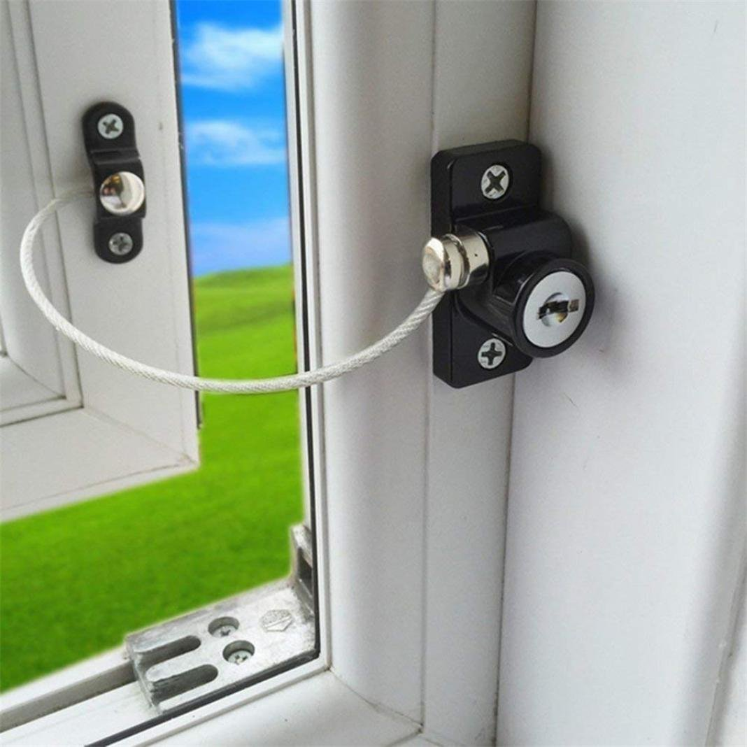 Cabinet Safety Locks, Sacow 4 pc Window Door Restrictor Safety Locking Child Baby Security Wire Cable Lock (Black)