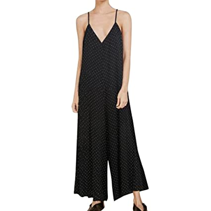 efe1bbef3f17 Image Unavailable. Image not available for. Color  Hatoppy Women s sling V-neck  dot loose wide leg jumpsuit ...