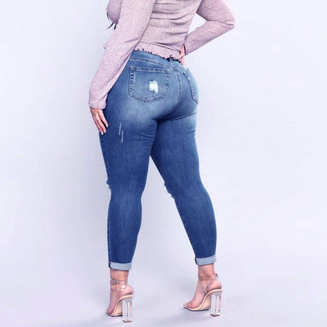 b1a2d94aa6 JESPER Women Plus Size Ripped Stretch Slim Denim Skinny Jeans Pants High  Waist Trousers at Amazon Women s Jeans store