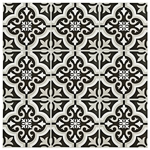 "SomerTile FTC8BRCL Bracara Ceramic Floor and Wall Tile, 7.75"" x 7.75"", Black/Grey/White"