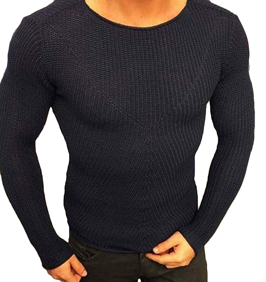 YYear Mens Knitwear Round Neck Long Sleeve Classic Slim Pullover Sweater