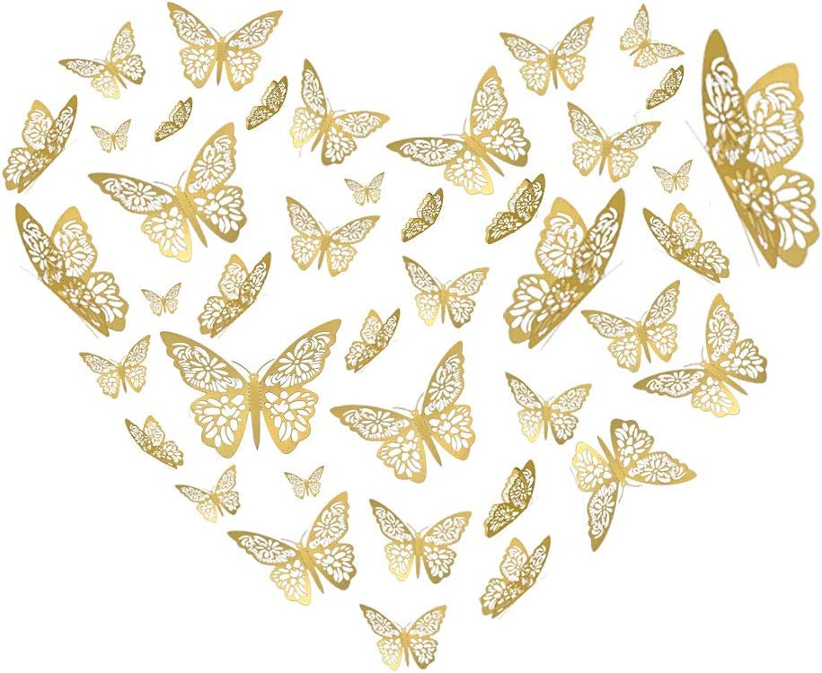 YOYOSO Butterfly Wall Decor Sticker Wall Decal, 48 Pcs Gold 3D Art Removable Mural Decoration DIY Flying Decor for Kids Bedroom Home Party Nursery Classroom Offices Décor (6)