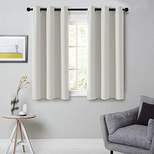 CUTEWIND Bedroom Grayish White Blackout Curtain Panels 54 Inches Long Grommet Top Thermal Insulated Room Darkening Drapes for Living Room 2 Panels, W42 L54 Inch,Grayish White
