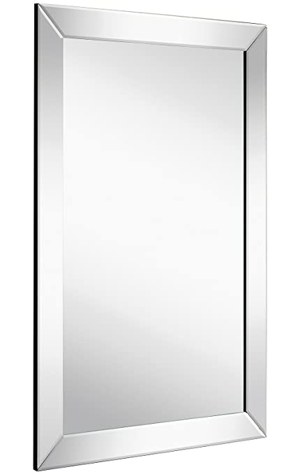 Amazon Com Large Flat Framed Wall Mirror With 2 Inch Edge Beveled