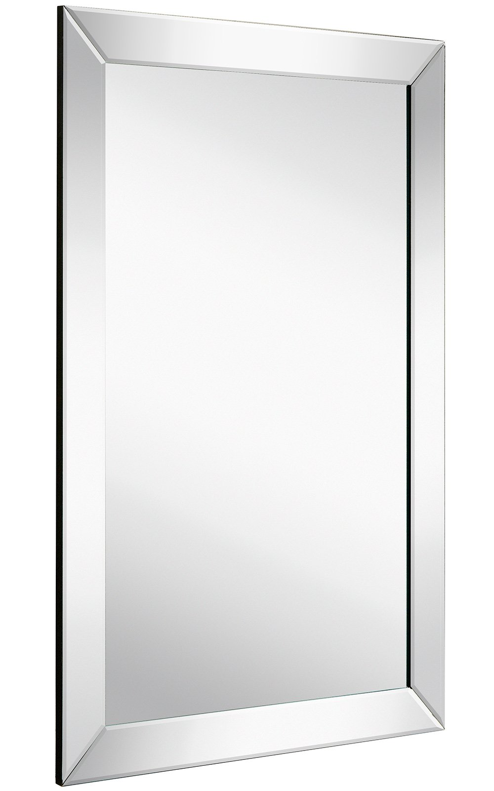 Large Flat Framed Wall Mirror with 2 Inch Edge Beveled Mirror Frame | Premium Silver Backed Glass Panel | Vanity, Bedroom, or Bathroom | Mirrored Rectangle Hangs Horizontal or Vertical (20'' x 30'')