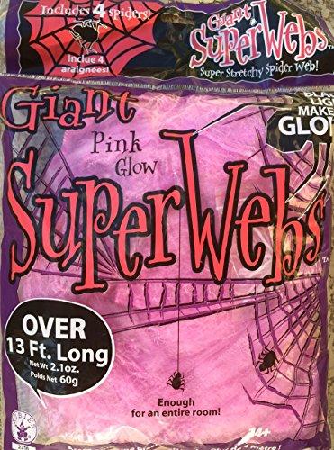 13 FEET STRETCHY - JUMBO PINK HALLOWEEN SPIDER WEBS + 4 SPIDERS GLOWS UNDER BLACK LIGHT