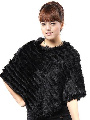 Vogueearth Mujer'Real De Punto Conejo Pelaje Invierno Más Cálido Mantón Negro