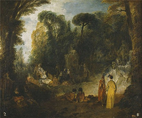 [The High Quality Polyster Canvas Of Oil Painting 'Watteau Jean Antoine Gathering In A Park 1712 13 ' ,size: 24 X 29 Inch / 61 X 74 Cm ,this Beautiful Art Decorative Prints On Canvas Is Fit For Powder Room Artwork And Home Decoration And] (Famous Musical Costume Designers)