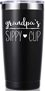 Grandpa's Sippy Cup 20 OZ Tumbler.Grandpa Gifts.Birthday,Christmas Gifts for New Grandpa,Grandpa Again,Granddad,New Grandfather,Husband,Men Travel Mug(Black)