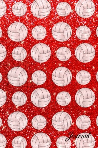 Journal: Faux neon red glitter volleyball ()