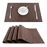 Top Finel Table Mats Sets Crossweave PVC Washable Stain Resistant Durable Dining Table Outdoor,Brown,Set of 8