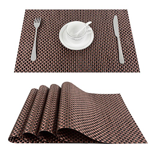 Top Finel Table Mats Sets Crossweave PVC Washable Stain Resistant Durable Dining Table Outdoor,Brown,Set of 8 by Top Finel