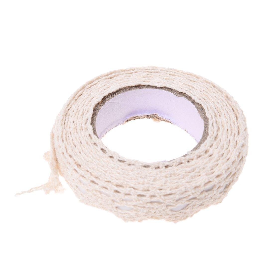 TOOGOO(R) Rotolo di nastro pizzo decorativo sticker adesivo Galon regalo Nastro Mestieri Tessuto 1.7m di cotone beige