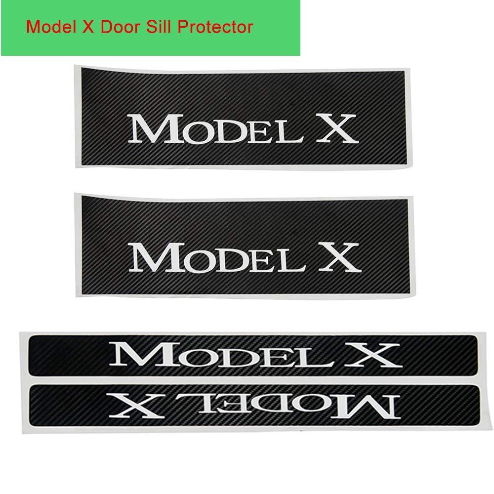 TeslaHome Car Door Sills Protection Kit Carbon Fiber Stickers for Tesla Model X (White, 4 pieces) Tesla Home 4336988762