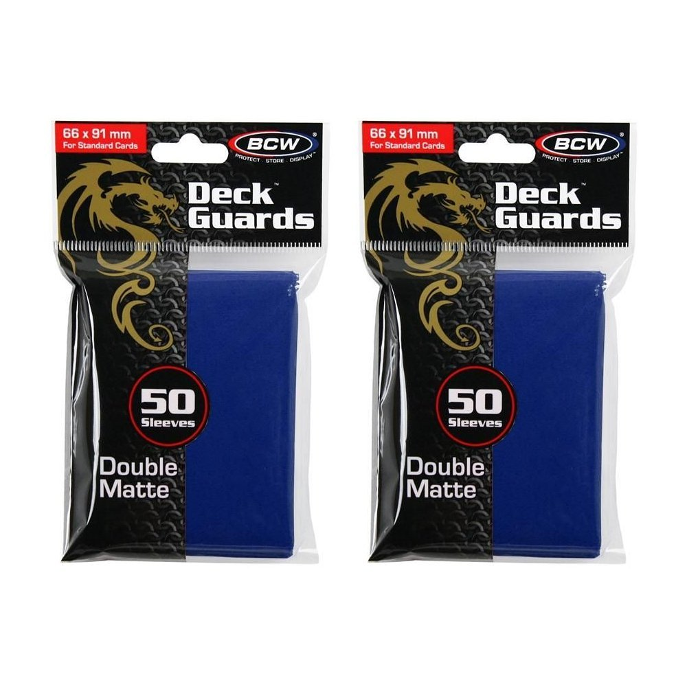 100 Premium bluee Double Matte Deck Guard Sleeve Predectors for Gaming Cards like Magic The Gathering MTG, Pokemon, YU-GI-OH , & More. by BCW
