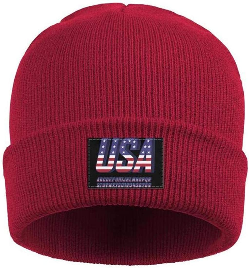 Mens Slouchy Beanie Hat Fine Knit Hats USA National Flag Style Font Ski Cap