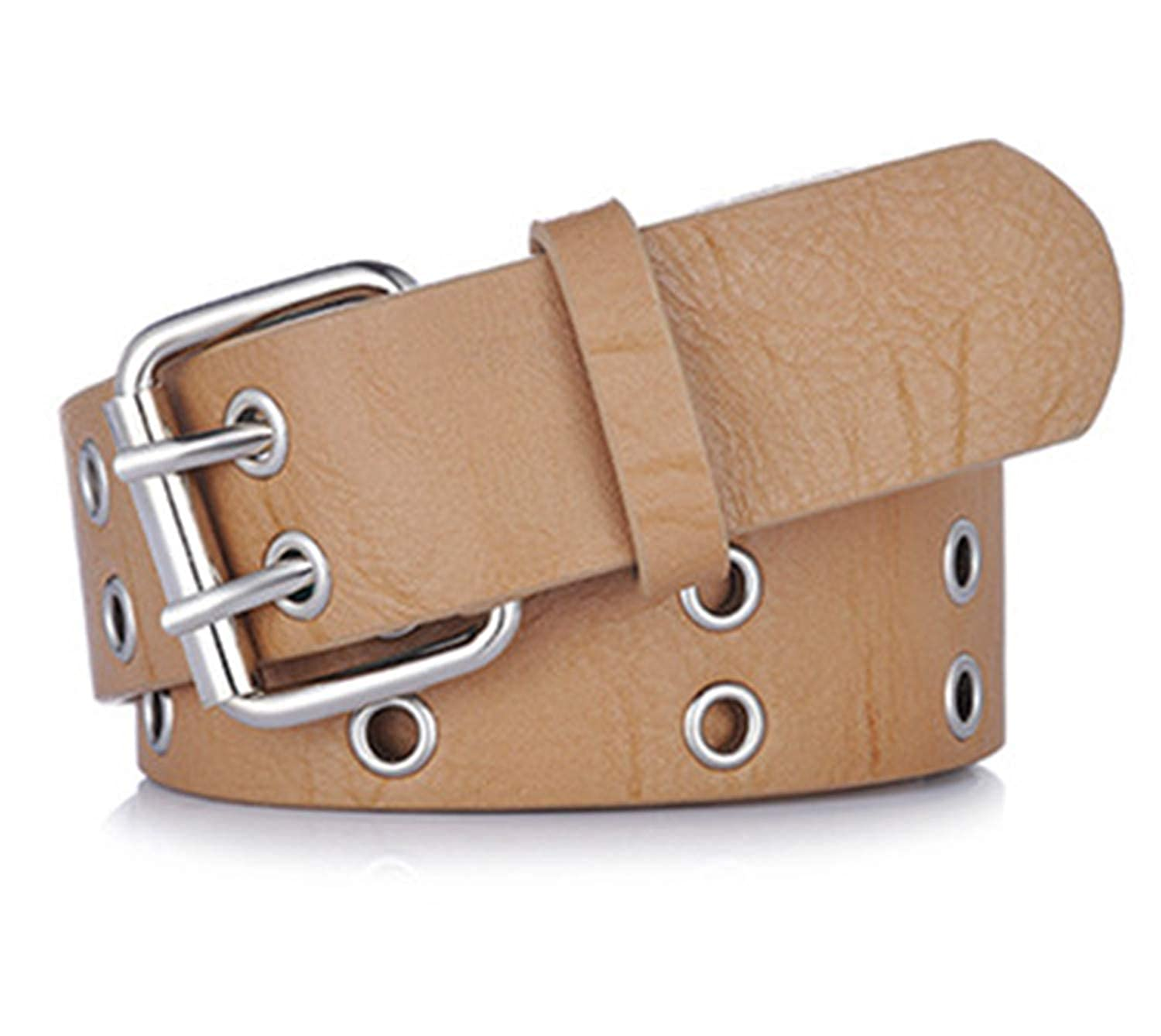 Fashion Belts For Women Double Pin Buckle Pu Leather Waist Strap For Ladies Jeans