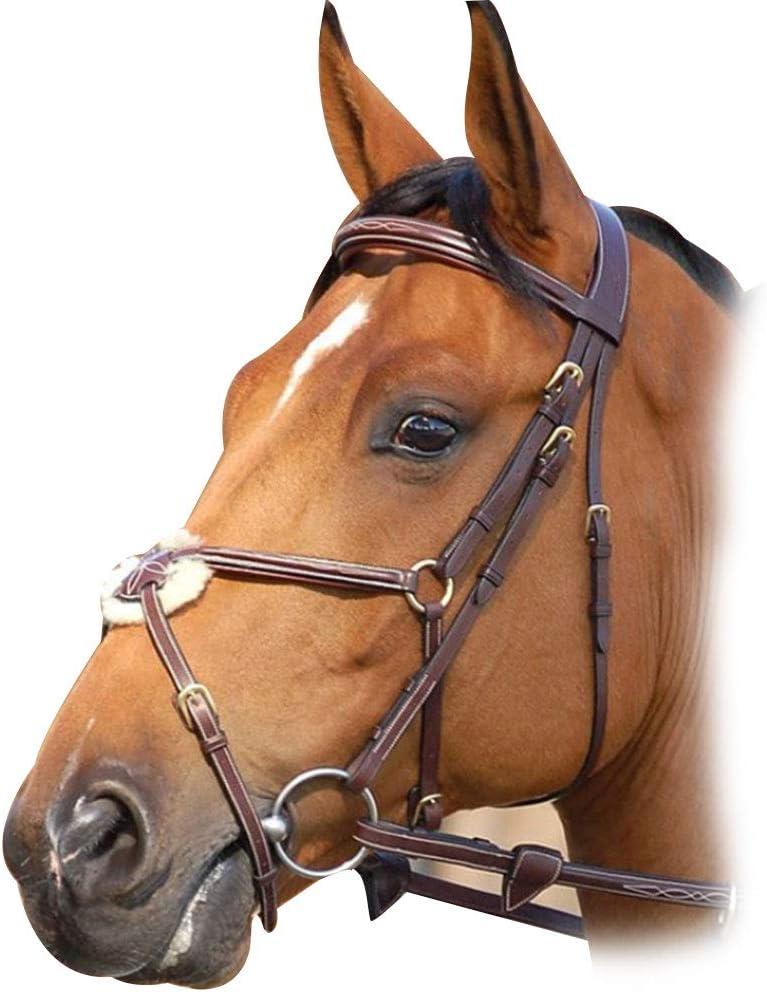 WHFEC Cabezada de Cuero, Espesar Cabestro de CueroTamaño Ajustable para competiciones de equitación