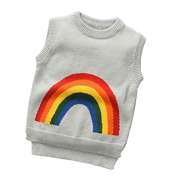 532cd0b64 Amazon.com  Toddler Kids Rainbow Pattern Sweater Knit Sleeveless ...