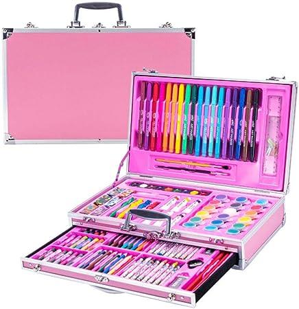 pomelogreem Profesional Lápices de Colores Conjunto,123 Caja de Aluminio para Pintar, Pintura artística, Regalo para niños, papelería @ Rosa,de los niños cumpleaños: Amazon.es: Hogar