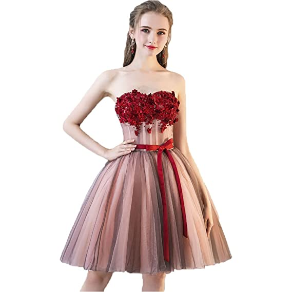 1911d890257 nymph Women s Strapless Boned Bodice Flowers Tulle Cocktail Dress   Amazon.co.uk  Clothing