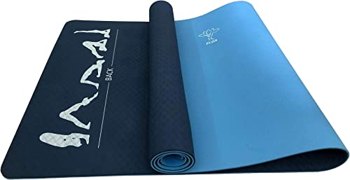 Elda Yoga Mat with Standard Exercise Poses for Home Fitness or Gym Workout, Double-Sided Eco Friendly, Non-Slip, 1 4 inch Pro Yoga Mat for Hot Yoga, Pilates, and Floor with Carrying Strap