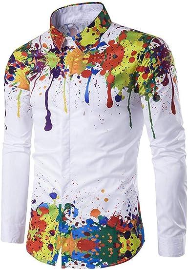 ColourfulMen Lapel Casual Standard-fit Long Sleeve Dark Floral Shirts