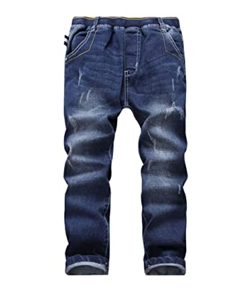 le dernier 55a7f d2e2b YoungSoul Jeans garçon - Pantalons Jean Skinny déchiré et rapiécé -  Pantalon Enfant Taille Elastique