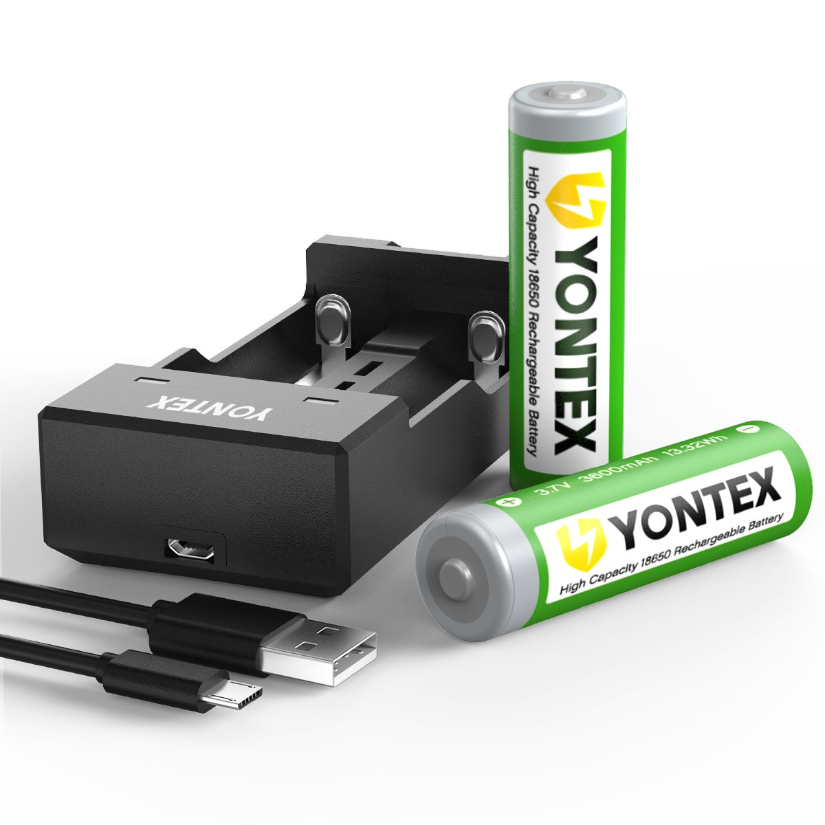YONTEX [2 Pack] 3.7V 3600mAh 18650 Lithium Rechargeable Batteries with 1 USB 2-Bay Battery Charger and 1 Battery Storage Case [ More Power, Lighter Life ]